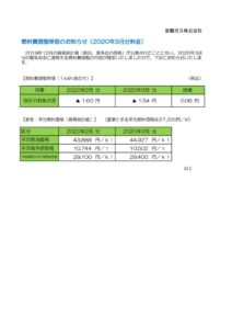 燃料費調整単価のお知らせ(2020年3月分)室蘭ガスのサムネイル